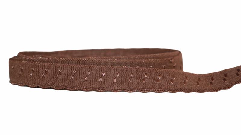 Elastische biaisband met schulprandje (vouwkant) bruin 10mm per 0,5 meter
