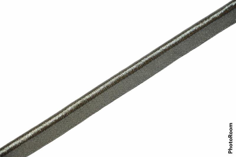 Elastisch paspelband glans/mat army, per 0,5 meter