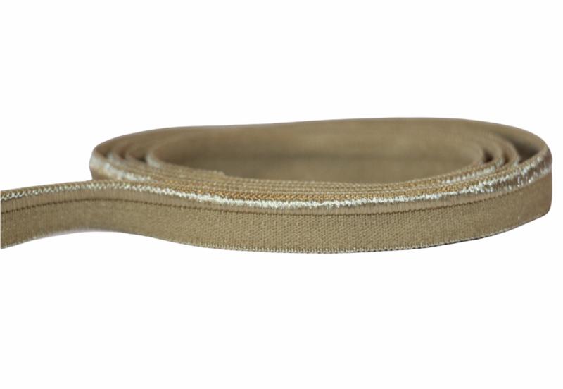 Elastisch paspelband glans/mat beige, per 0,5 meter