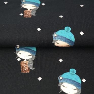 Digitale print French Terry tricot : meisjes met muts zwart (Stenzo), per 25 cm