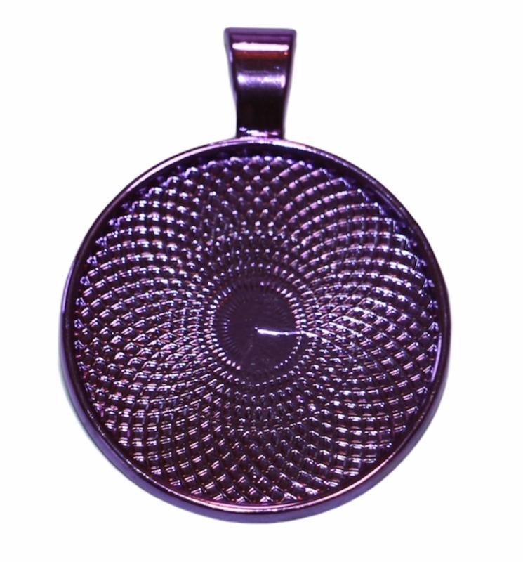 Cabochon paars metallic setting 25mm