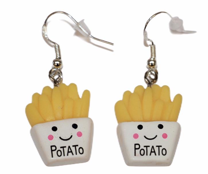 Oorbelletjes potato, zilver haakje