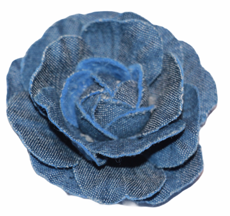 Stoffen jeansbloem donkerblauw 6 cm