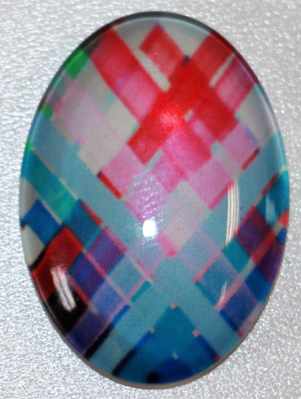 Glas flatback cabochon multi color 18 x 25 mm