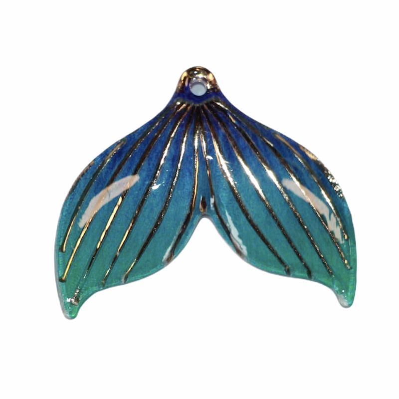 Zeemeerminstaart blauw met gaatje  25x30 mm, per stuk