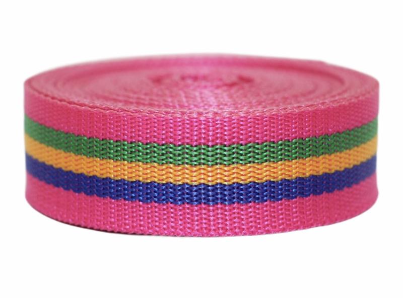 Tassenband fuchsia/groen/geel/blauw 25mm, per 0,5 meter