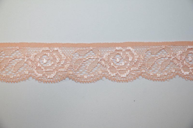 Zalmroze elastisch kant 25mm, per 0,5 meter