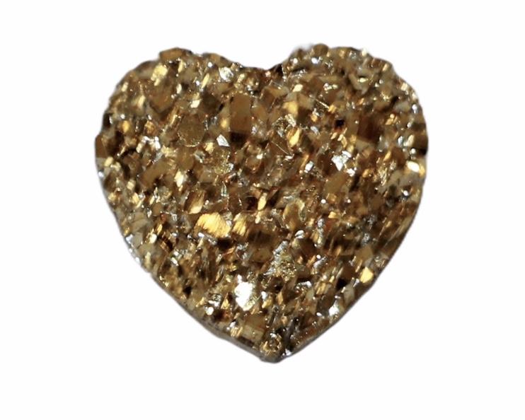 Hartje shiny gold flatback 12mm, per stuk