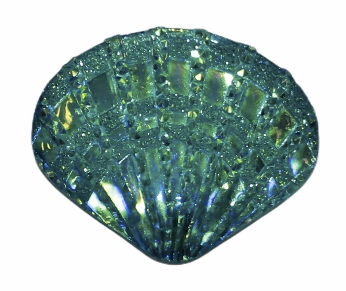 Flatback: aquablauw shiny schelpje 18 x 14 mm, per stuk