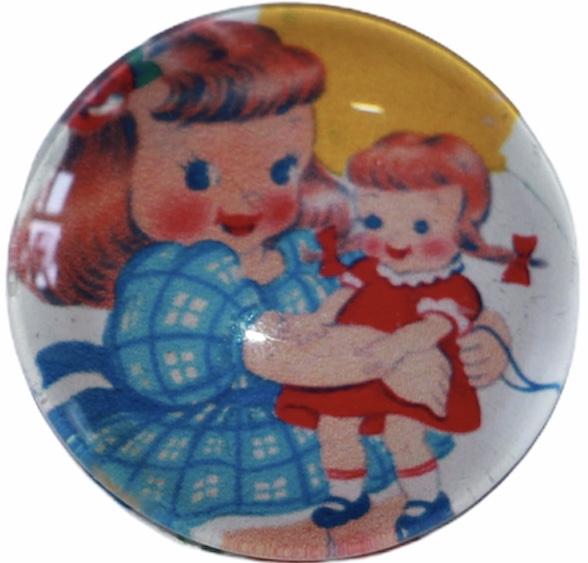 Glas cabochon 25mm: Retro meisje