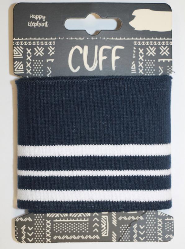 Cuff two stripes marineblauw-wit 7x110 cm