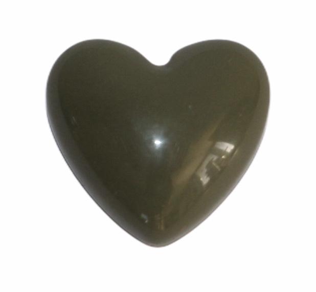 Flatback: retro hart olijfgroen 17x18 mm, per stuk