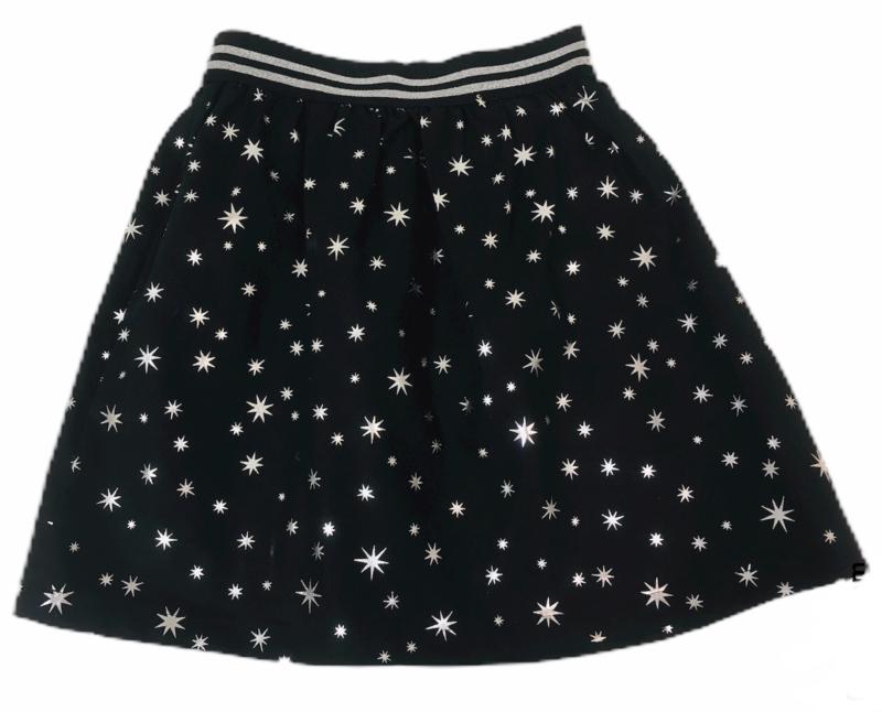 Katoenen rimpel rok zwart/zilver ster 116-134