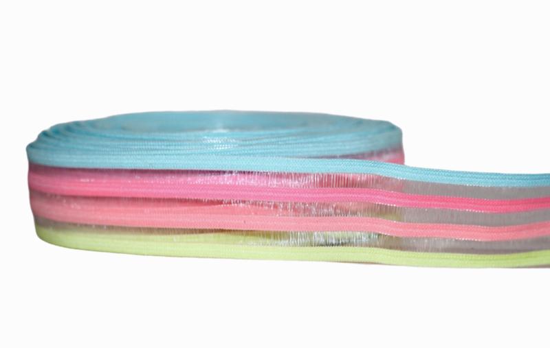 Blauw/roze/geel gestreept -doorzichtig elastiek 25 mm per 0,5 meter