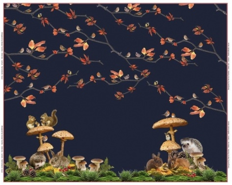 Panel digitale tricot:  Animals in the forest 120x150 cm Stenzo