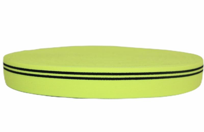 Neongeel met zwarte streep elastiek 30 mm per 0,5 meter