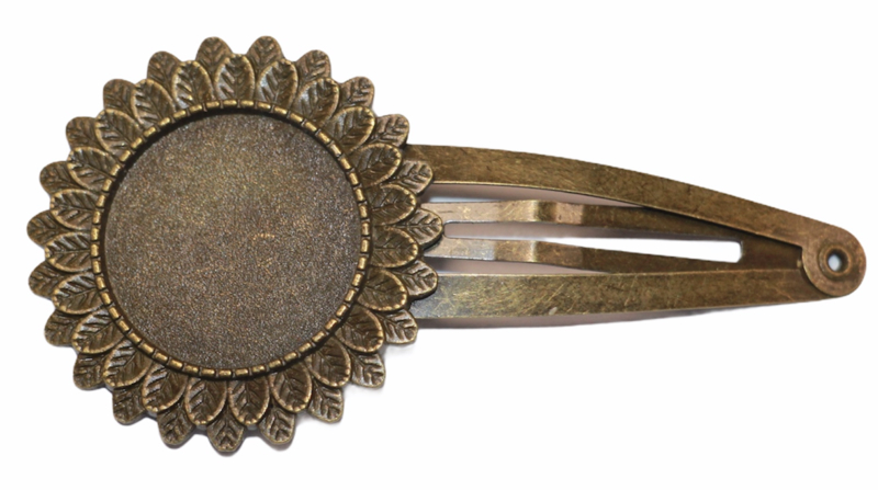 Haarclip met sierrand brons, setting 20 mm