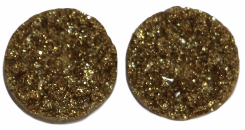 Flatback rondjes shiny goud 10 mm, per paar