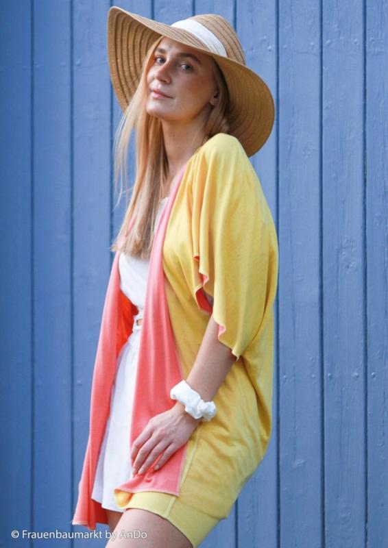 Viscose tricot: Ida roze-geel (Swafing) , per 25 cm