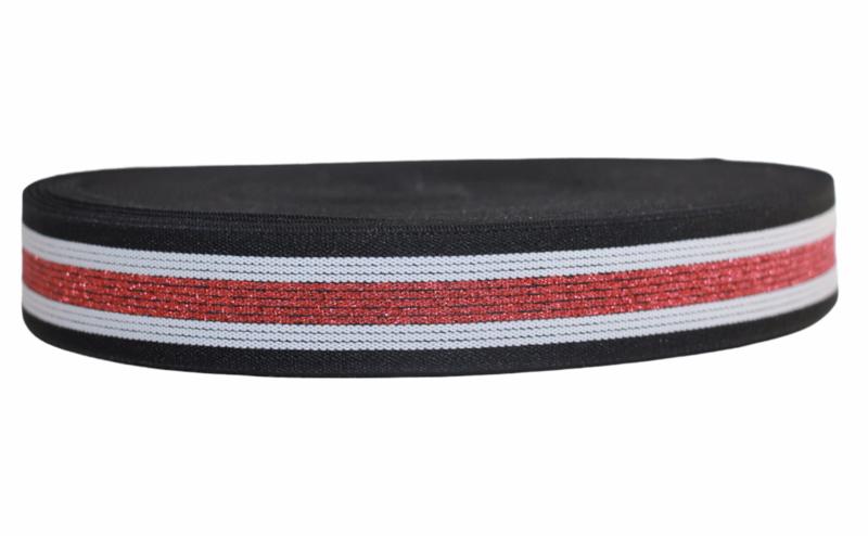 zwart/wit/rood glitter streepjes elastiek 30mm per 0,5 meter