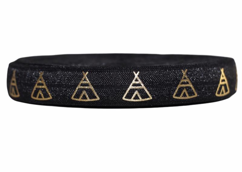 Elastisch band zwart met gouden tipi's per 0,5 meter