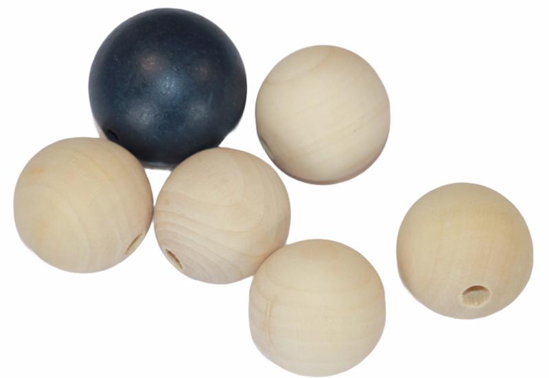 Houten kralen  30mm, 5 stuks + 1x 35 mm donkerblauw