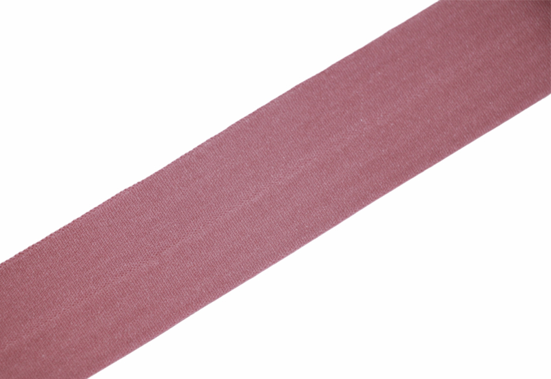 Elastisch biaisband/vouwtres mat oudroze 25 mm per 0,5 meter