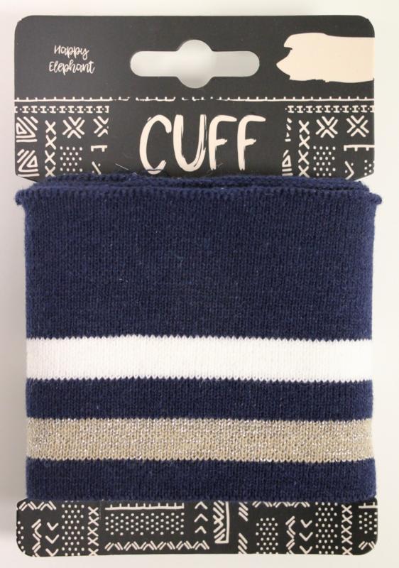 Cuff two stripes donkerblauw- offwhite/beige 7x110 cm