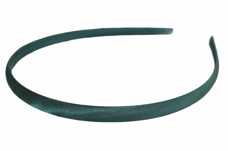 Diadeem / Haarband 10 mm satijn kleur donkergroen