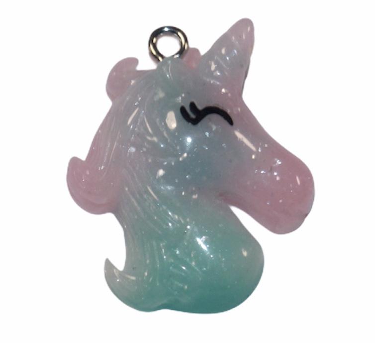 Unicorn glitter aqua/roze met haakje 32x 25 mm