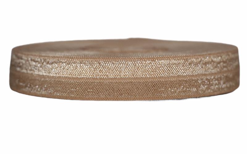 Elastisch band cognac 16 mm per 0,5 meter