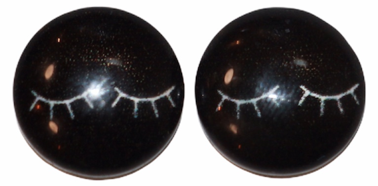 12 mm glascabochon oogjes zwart per 2 stuks
