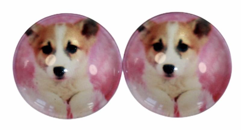glas cabochons 16 mm hondje, per 2 stuks