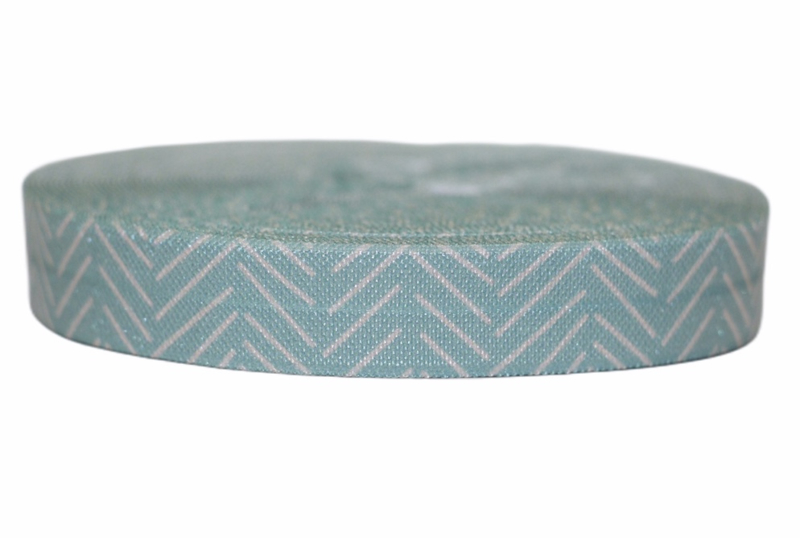 Elastisch band mint-wit chevron per 0,5 meter