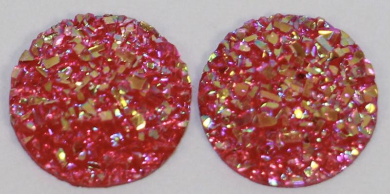 Rondje shiny fuchsiaroze flatback 12mm, per 2 stuks