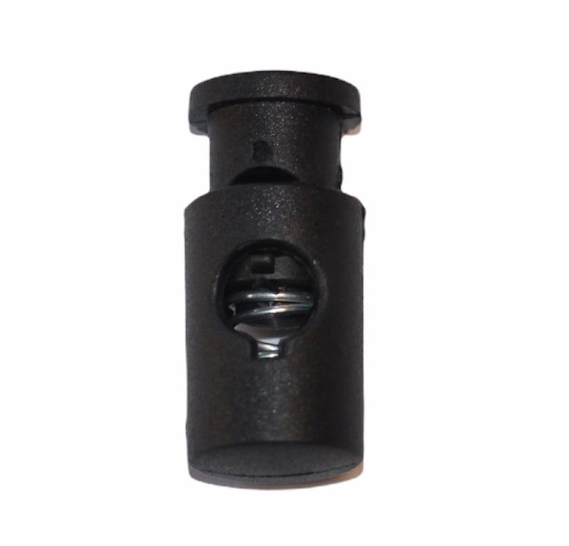 Koordstopper 1-gaats 20x12mm zwart, per stuk