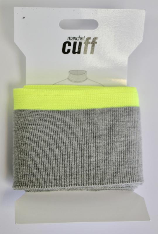 Cuff/ boordje grijs-neon geel  + lurex  135x7 cm