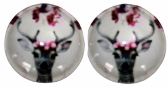 Glas flatback cabochon 12mm hert met bloemen, per 2 stuks