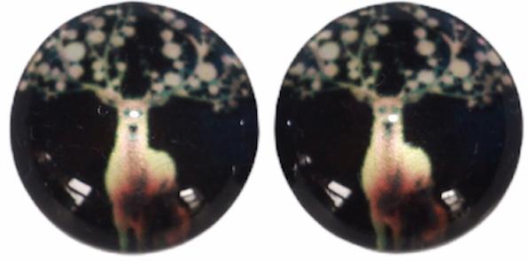 Glas flatback cabochon 12mm hert zwart, per 2 stuks