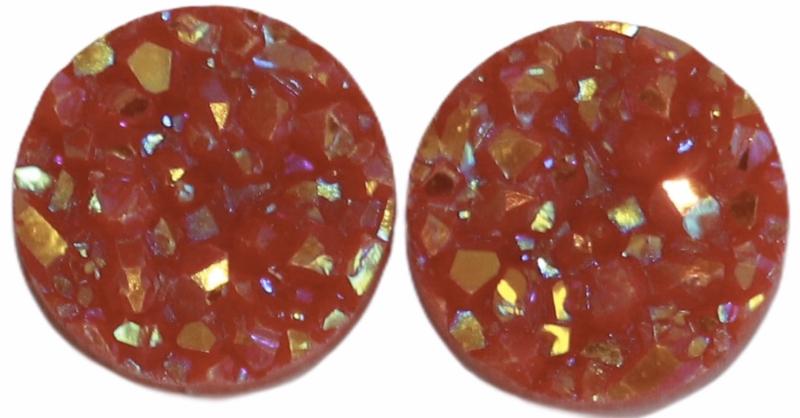 Flatback rondjes shiny rood 10 mm, per paar