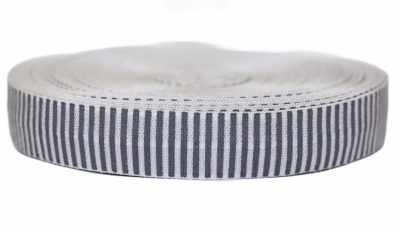 Elastisch band grijs-wit gestreept per 0,5 meter