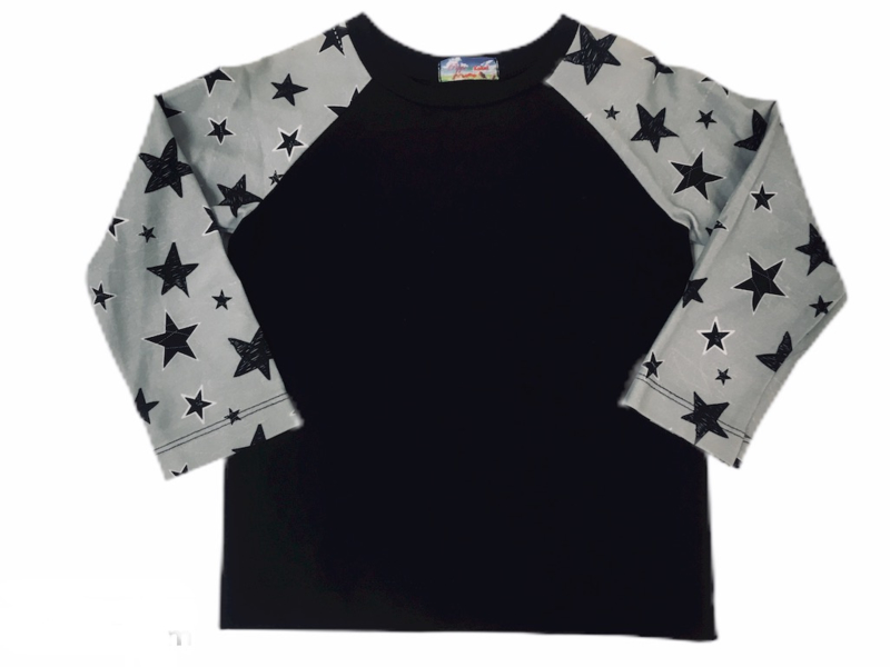 Raglan shirt black -grey- white star maat 92-134