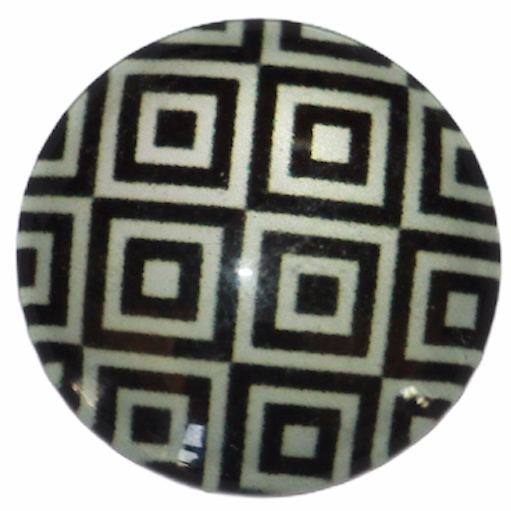 Glascabochon 20mm zwart-wit