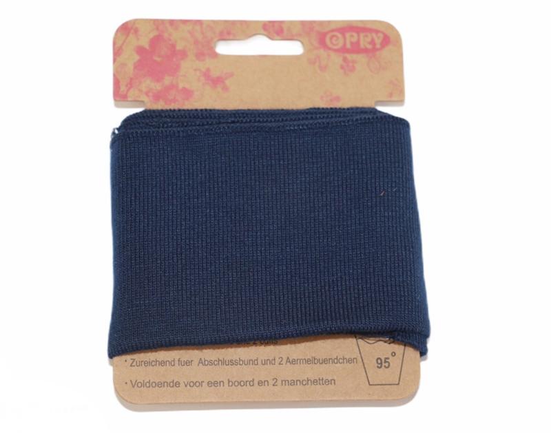 Cuff donkerblauw fijne ribbel 110 x 6,5 cm