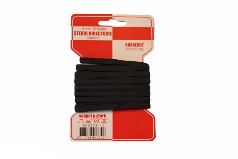 Rode kaart elastiek, 6 mm zwart: 10 meter