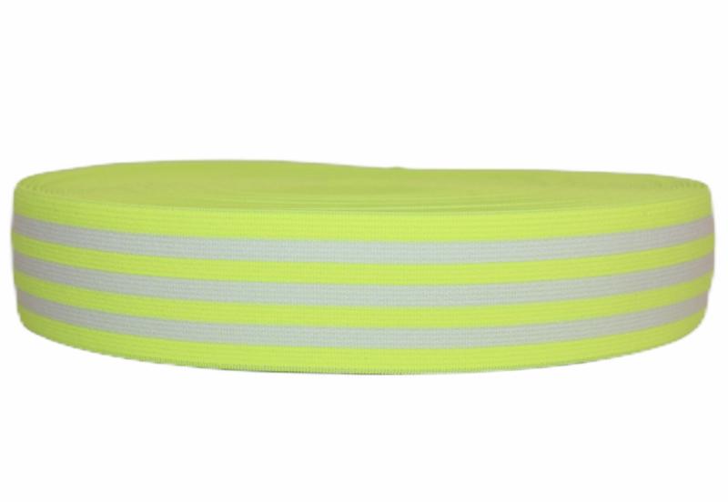 Neongeel wit gestreept elastiek 40 mm per 0,5 meter
