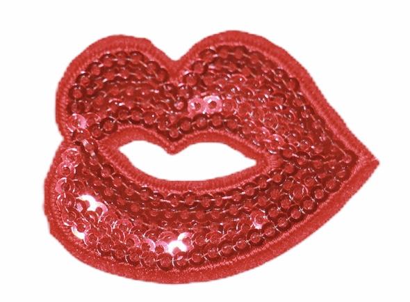 Lip applicatie met pailletten 5x4 cm