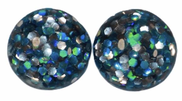 Flatback cabochon glitter blauw/zilver 12 mm, per 2 stuks