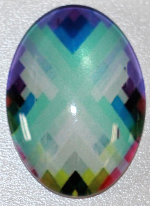 Glas flatback cabochon multi color 18 x 25 mm