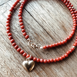 Ketting red heart - koraal & gold filled